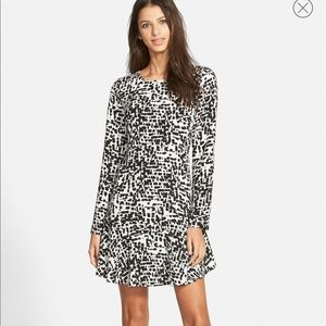 Nordstrom Leith Spotty Black White Print Dress S